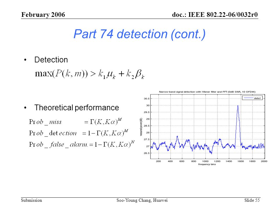 Part 74 detection (cont.) Detection Theoretical performance