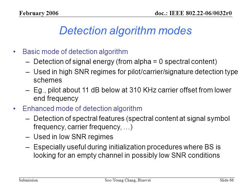 Detection algorithm modes