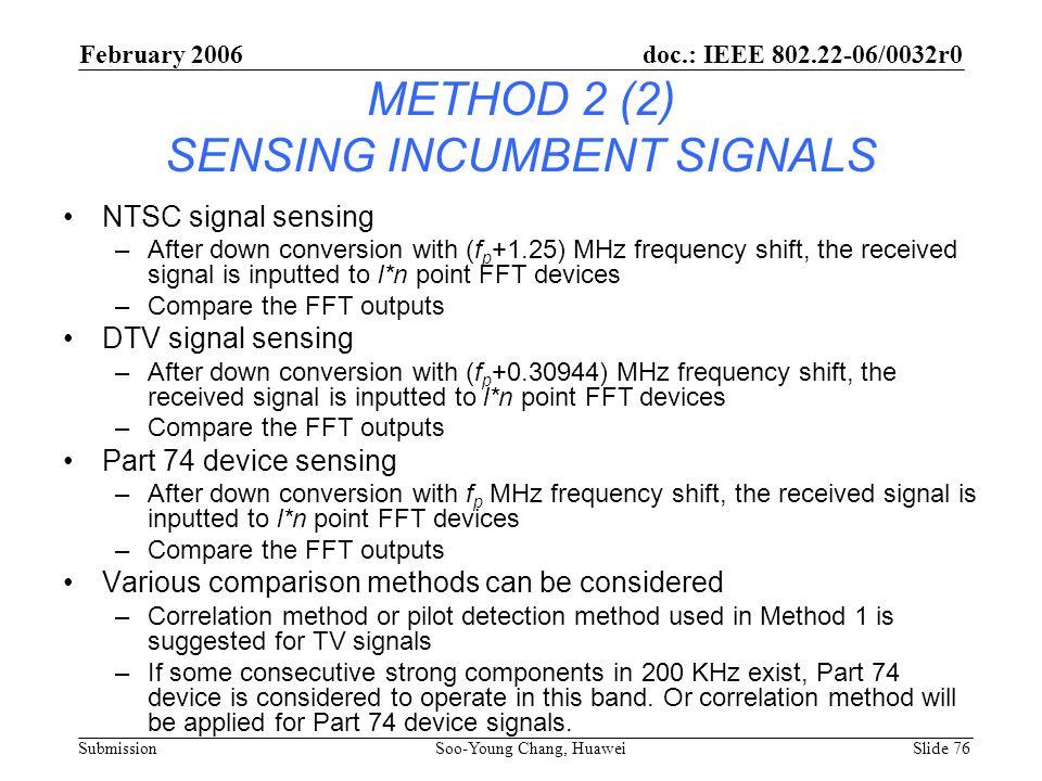 METHOD 2 (2) SENSING INCUMBENT SIGNALS