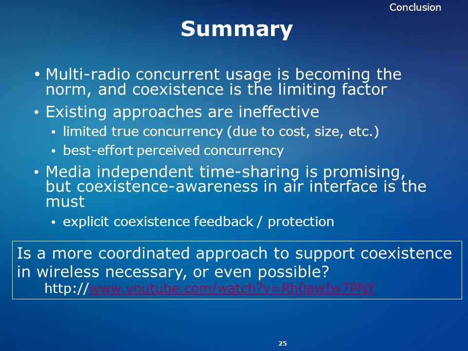 Conclusion Summary. Multi-radio concurrent usage is becoming the norm, and coexistence is the limiting factor.