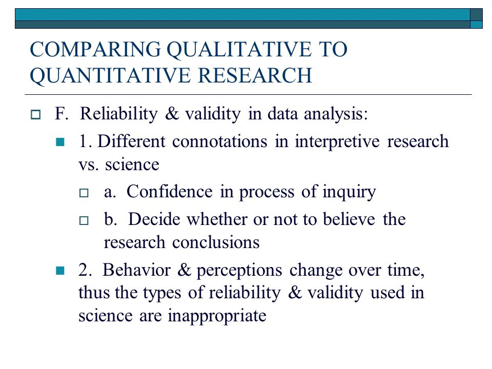 reliability and validity quantitative research Reliability, validity especially as applied to quantitative research introduction to reliability and validity - duration.