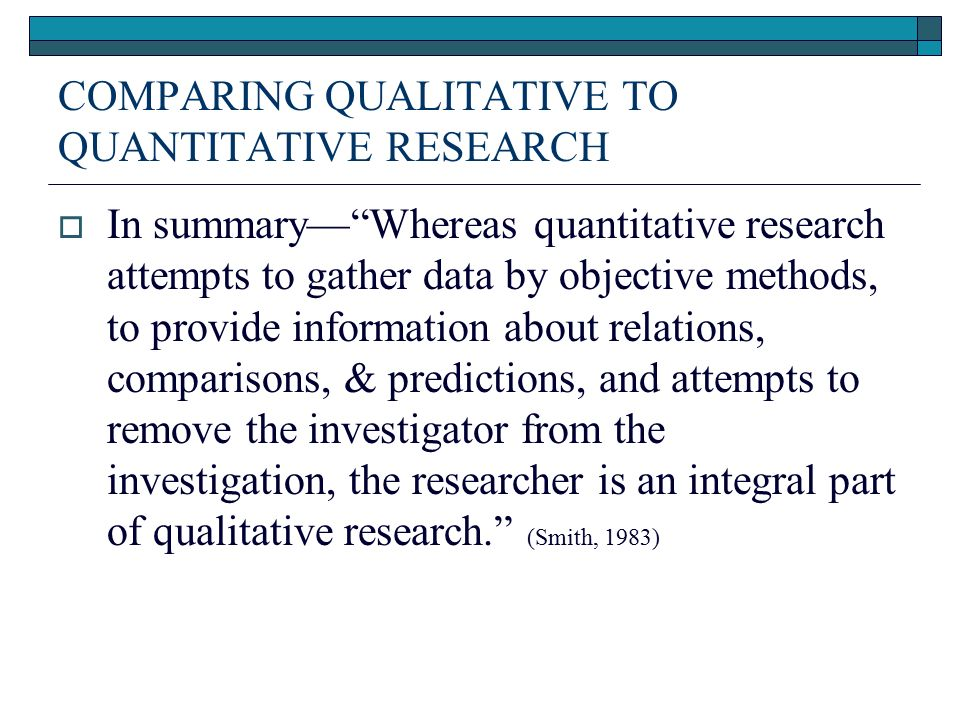 quantitative research vs qualitative research essay Learn the differences between qualitative and quantitative research, and find out which type is right for your survey research project.