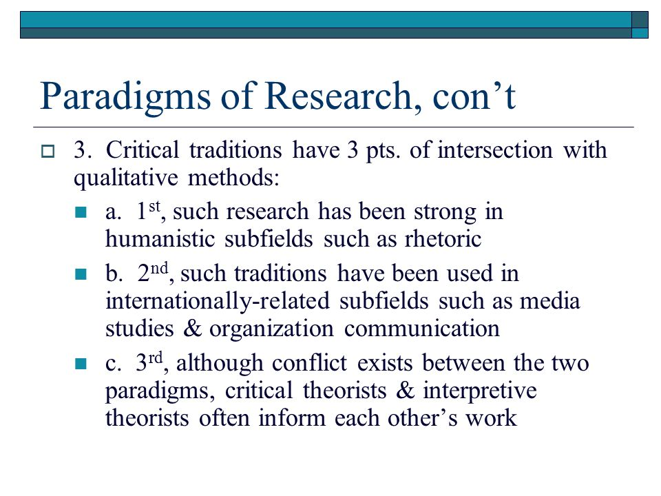 research paradigms in education A three-step approach--one that applauds a willingness to examine and blend research paradigms--is recommended in so far as it may, in some cases, best maintain a commitment to faithful dealing with the biblical record and, hence, to truth-seeking--both in the direct theological endeavour and in theological education,.