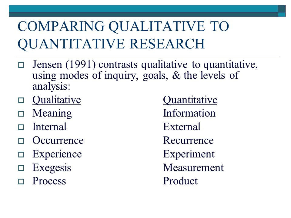 definition of quantitative research All research, whether qualitative or quantitative, is influenced in some way by the researchers, but this is particularly true in qualitative research because the researchers are an integral part of the research process.