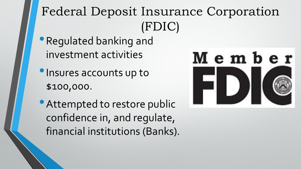 federal deposit insurance corporation essay It was created on december 23, 1913 with the enactment of the federal reserve act, largely in response to a series of financial panics, particularly a severe panic in 1907 fdic federal deposit insurance corporation:the federal deposit insurance corporation (fdic) is a united states government corporation created by the glass-steagall act.