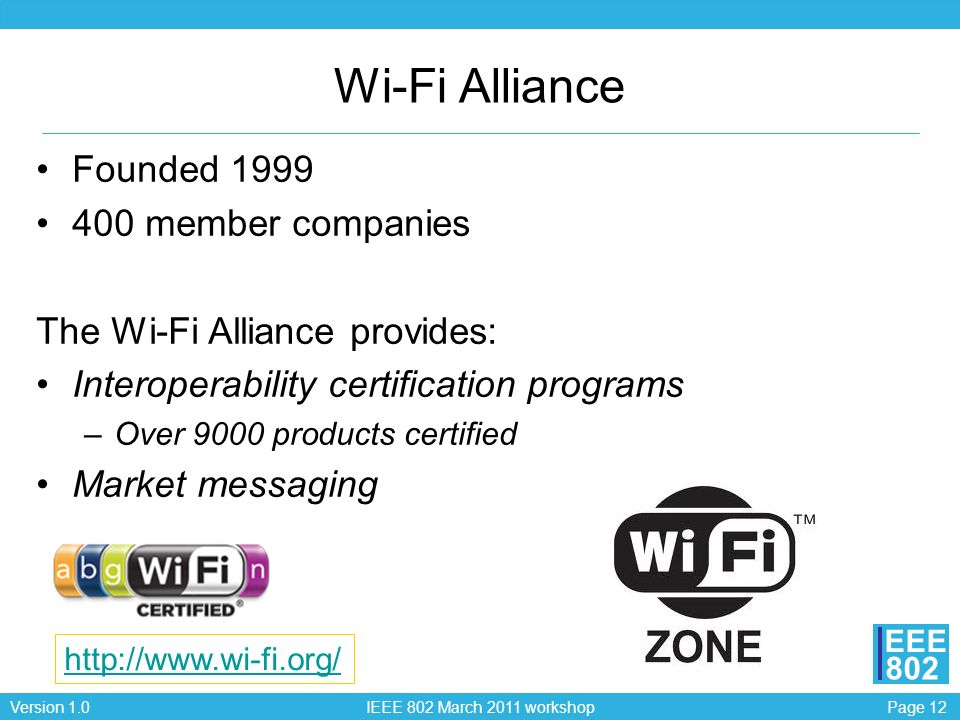 Wi-Fi Alliance Founded 1999 400 member companies
