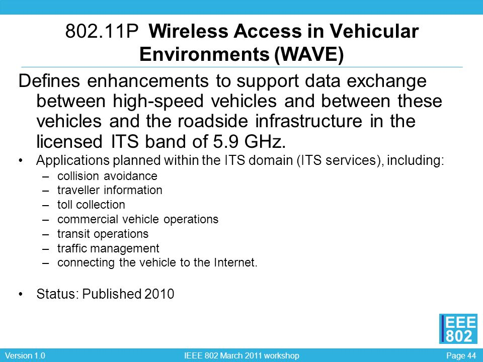 802.11P Wireless Access in Vehicular Environments (WAVE)