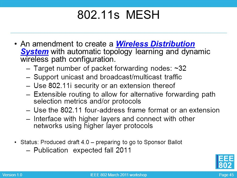 802.11s MESH An amendment to create a Wireless Distribution System with automatic topology learning and dynamic wireless path configuration.