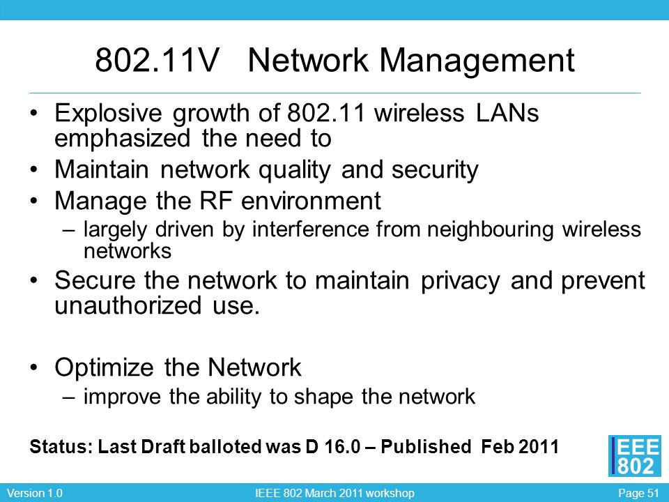 802.11V Network Management Explosive growth of 802.11 wireless LANs emphasized the need to. Maintain network quality and security.