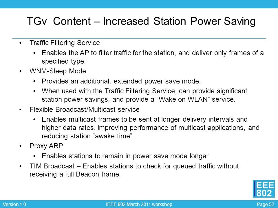 TGv Content – Increased Station Power Saving