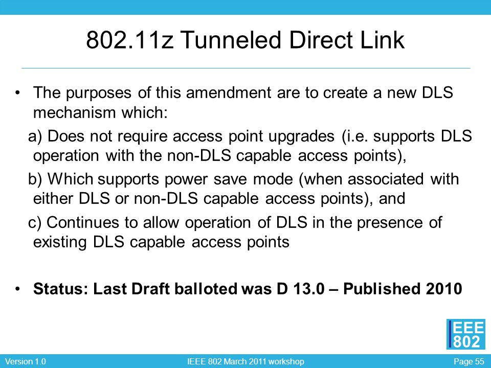 802.11z Tunneled Direct Link The purposes of this amendment are to create a new DLS mechanism which: