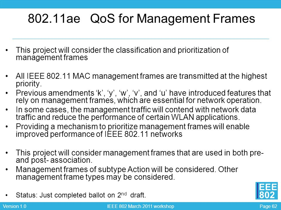 802.11ae QoS for Management Frames
