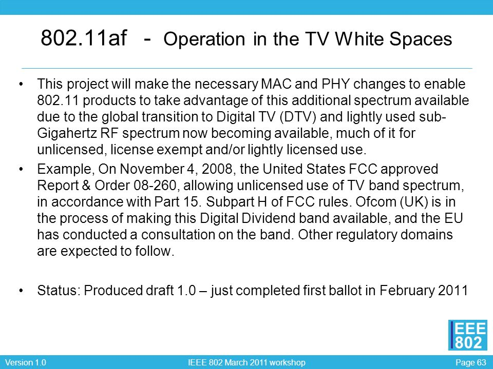 802.11af - Operation in the TV White Spaces