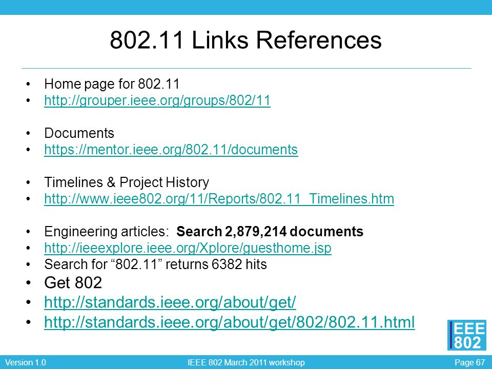 802.11 Links References Get 802 http://standards.ieee.org/about/get/