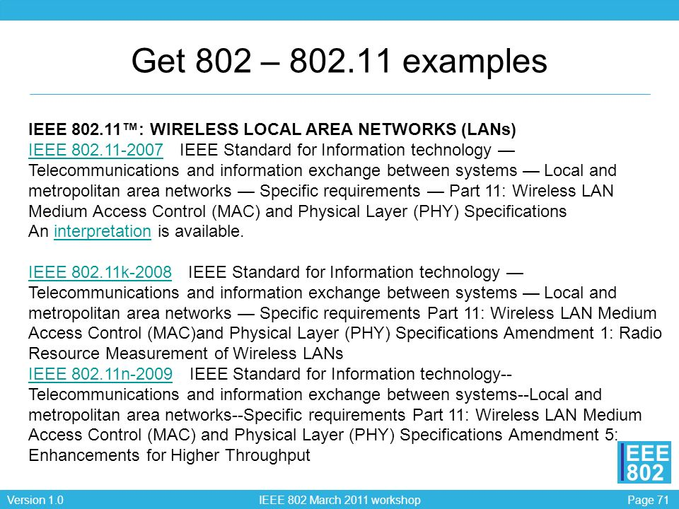 Get 802 – 802.11 examples IEEE 802.11™: WIRELESS LOCAL AREA NETWORKS (LANs)