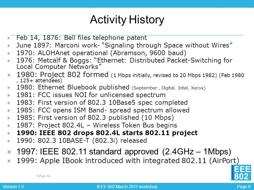 Activity History 1997: IEEE 802.11 standard approved (2.4GHz – 1Mbps)