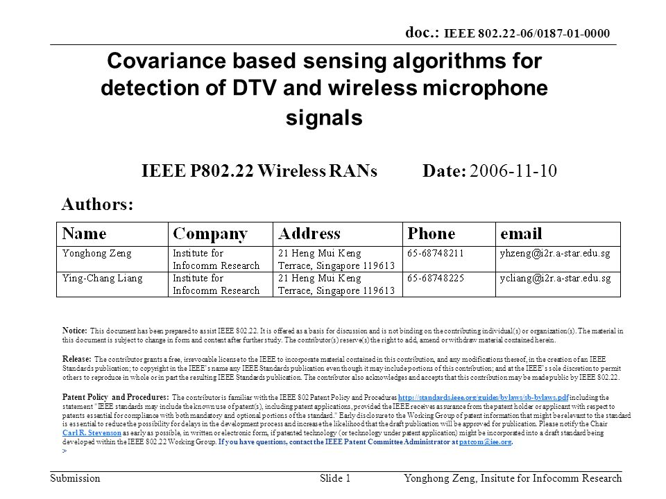IEEE P802.22 Wireless RANs Date: 2006-11-10