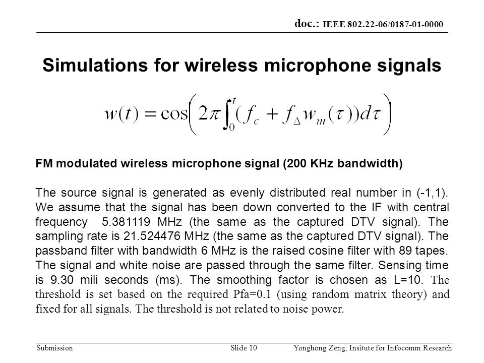 Simulations for wireless microphone signals