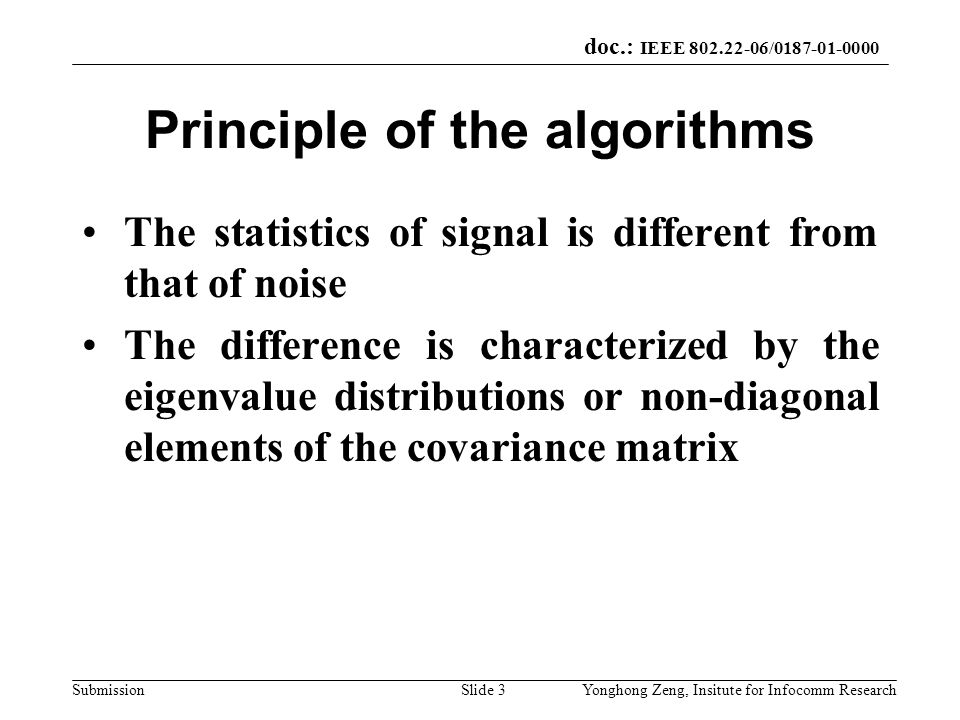 Principle of the algorithms