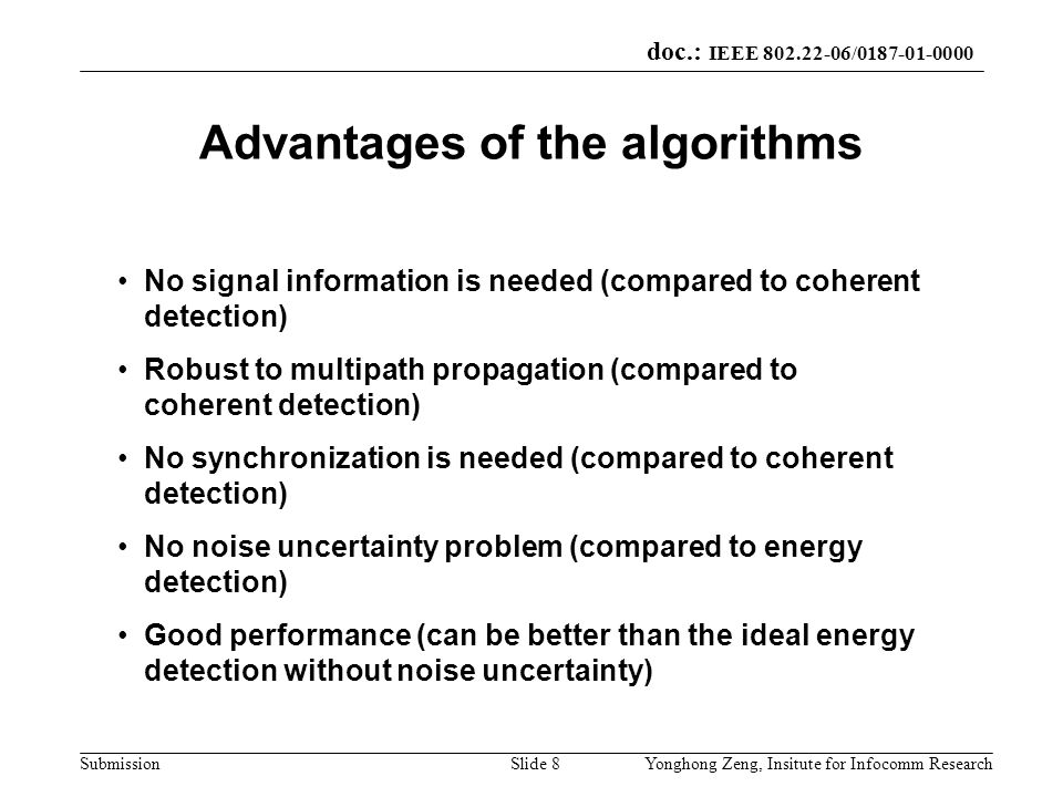Advantages of the algorithms