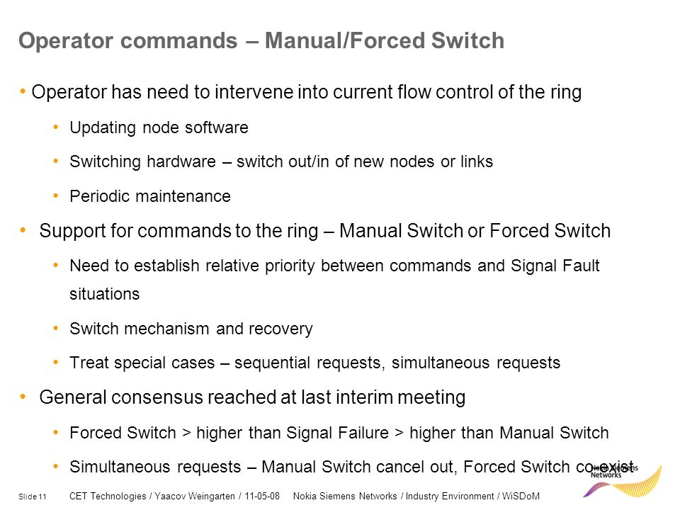 Operator commands – Manual/Forced Switch