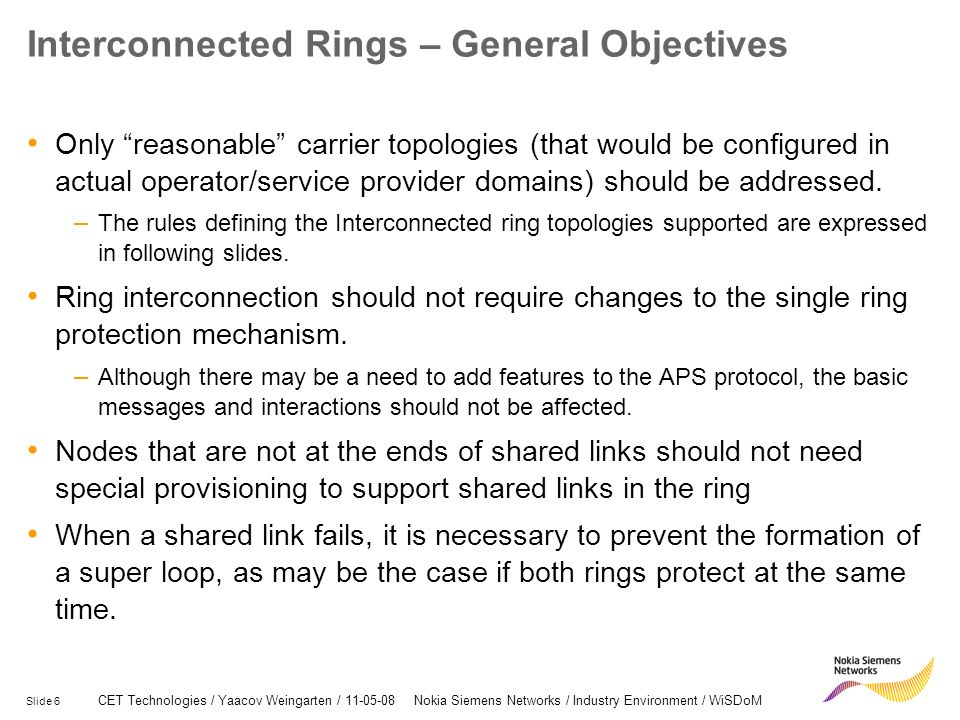 Interconnected Rings – General Objectives