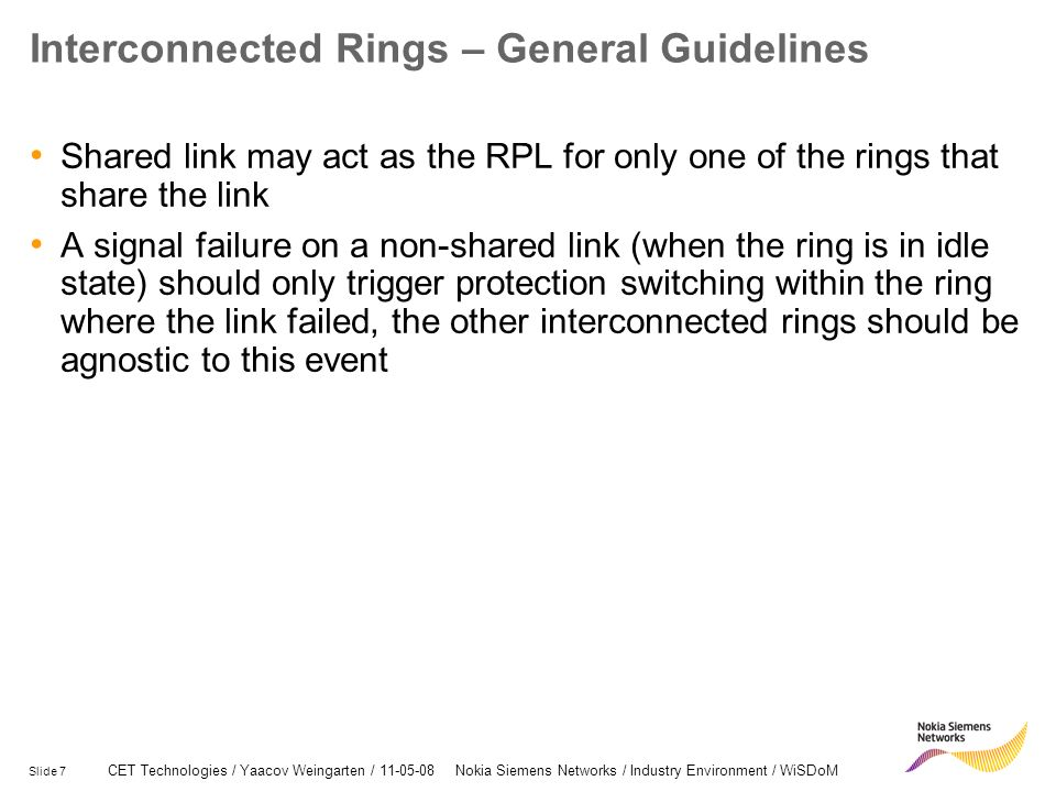 Interconnected Rings – General Guidelines