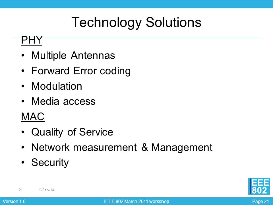 Technology Solutions PHY Multiple Antennas Forward Error coding