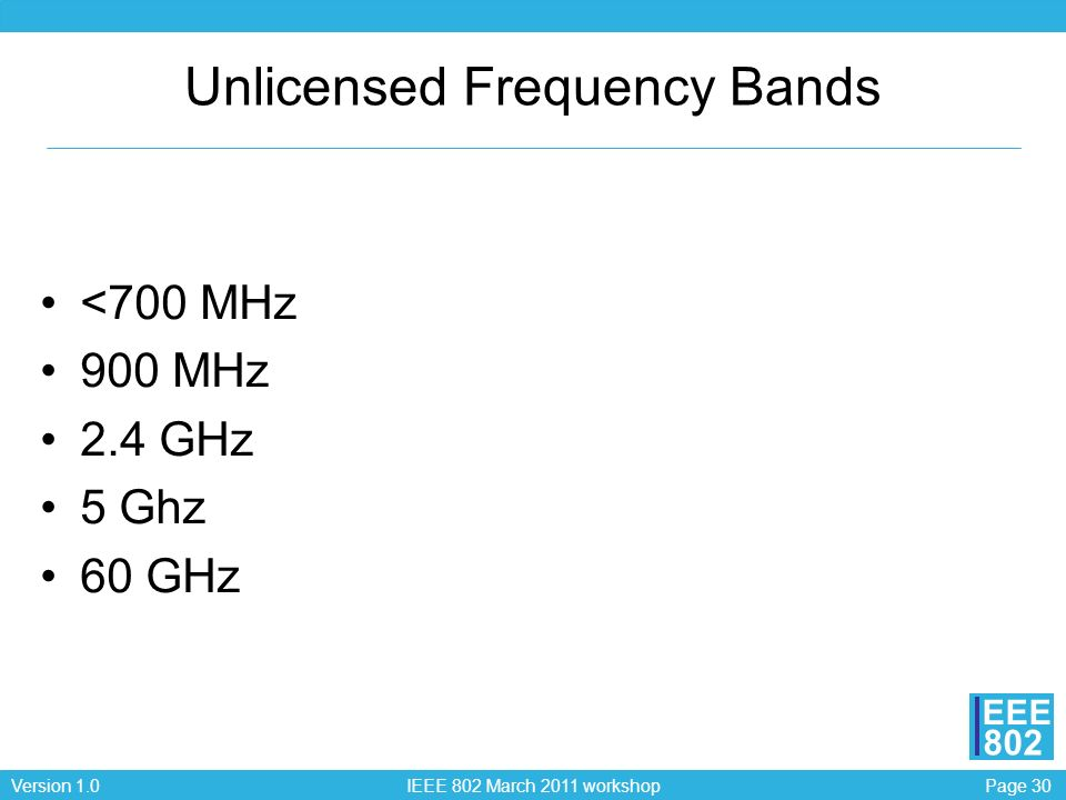 Unlicensed Frequency Bands