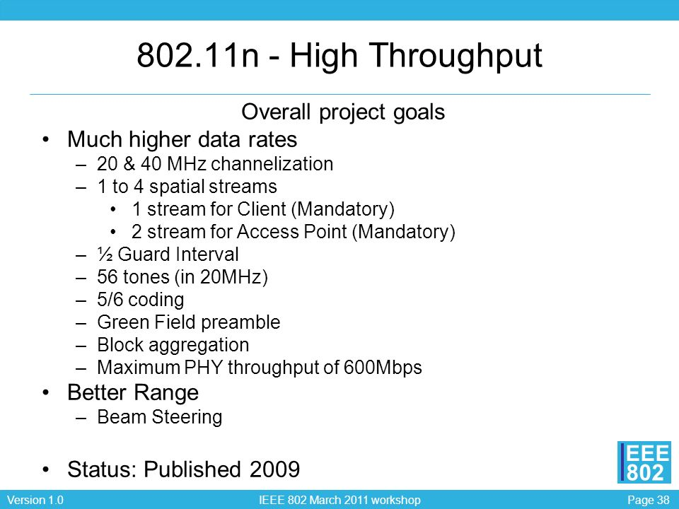 802.11n - High Throughput Overall project goals Much higher data rates