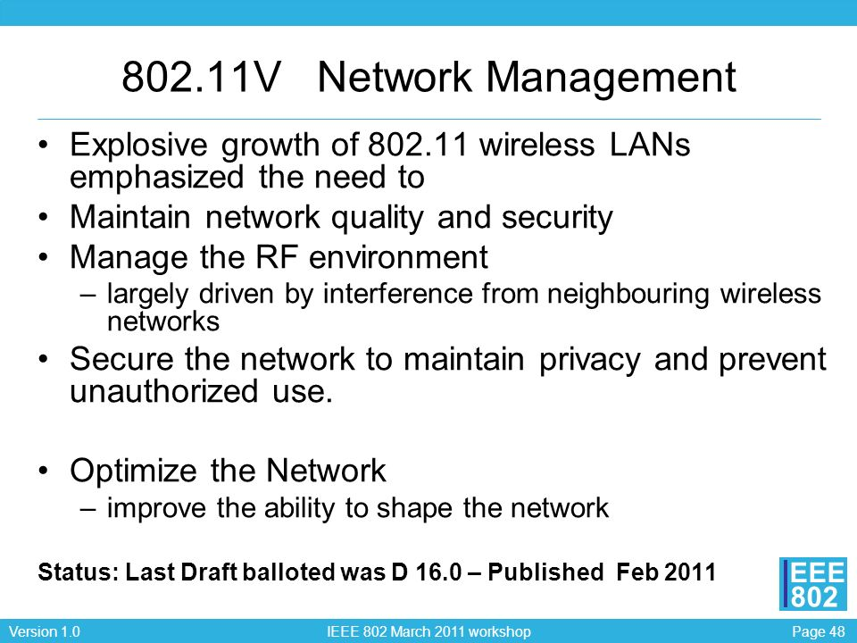 802.11V Network ManagementExplosive growth of 802.11 wireless LANs emphasized the need to. Maintain network quality and security.