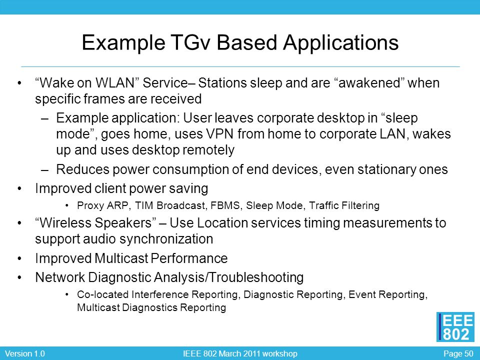 Example TGv Based Applications