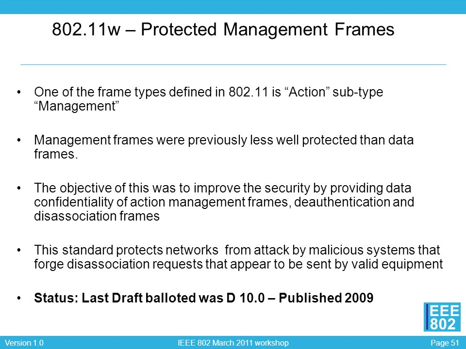 802.11w – Protected Management Frames