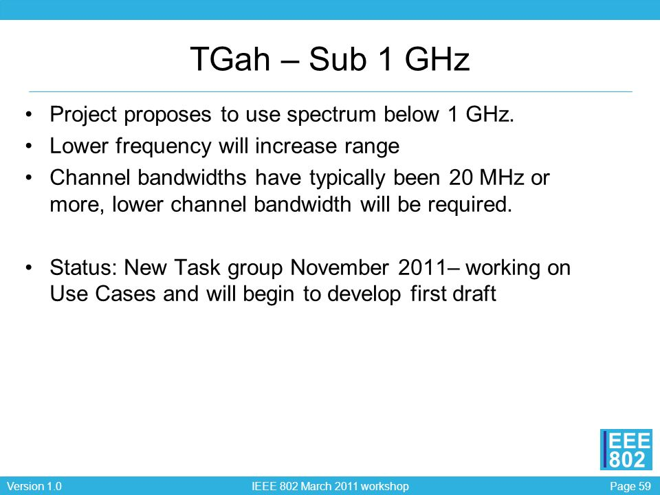 TGah – Sub 1 GHz Project proposes to use spectrum below 1 GHz.