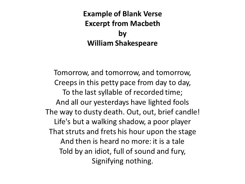 Definition of Blank Verse Blank Verse is Poetry that is written in ...