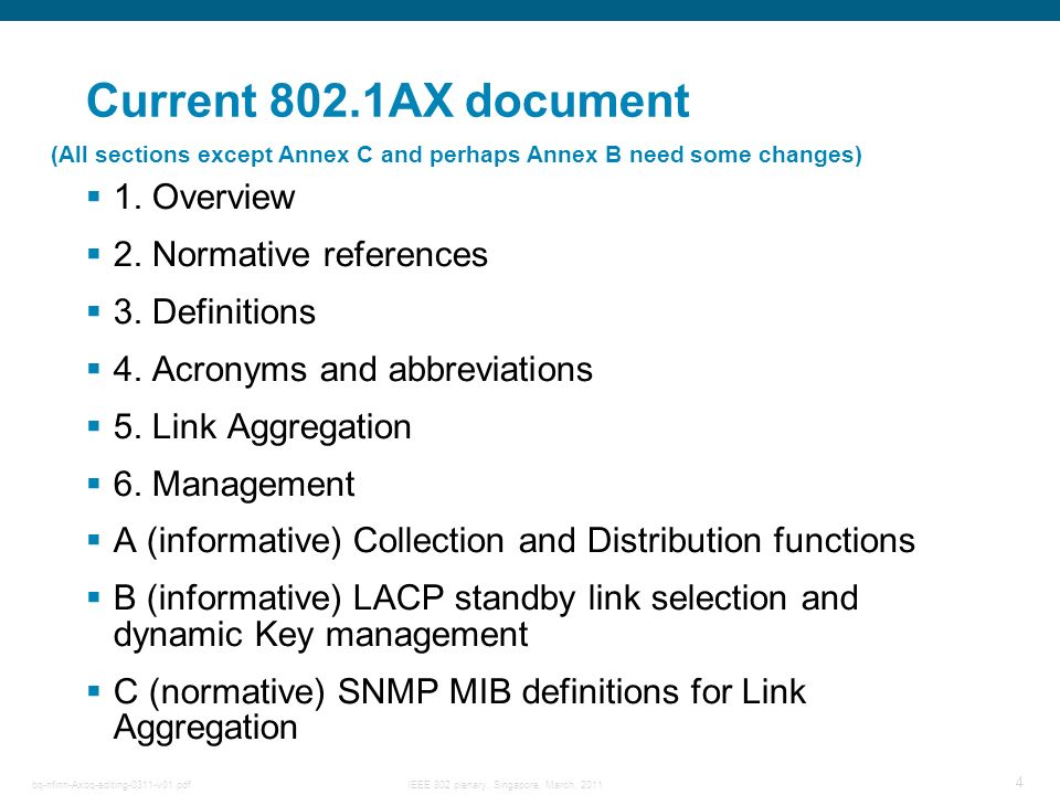 Current 802.1AX document 1. Overview 2. Normative references