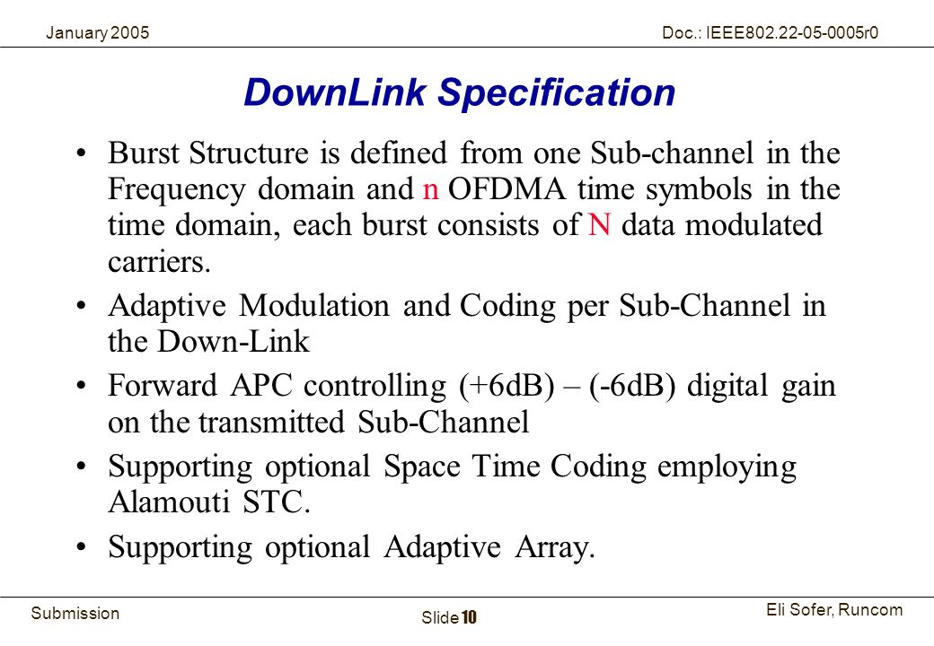 DownLink Specification