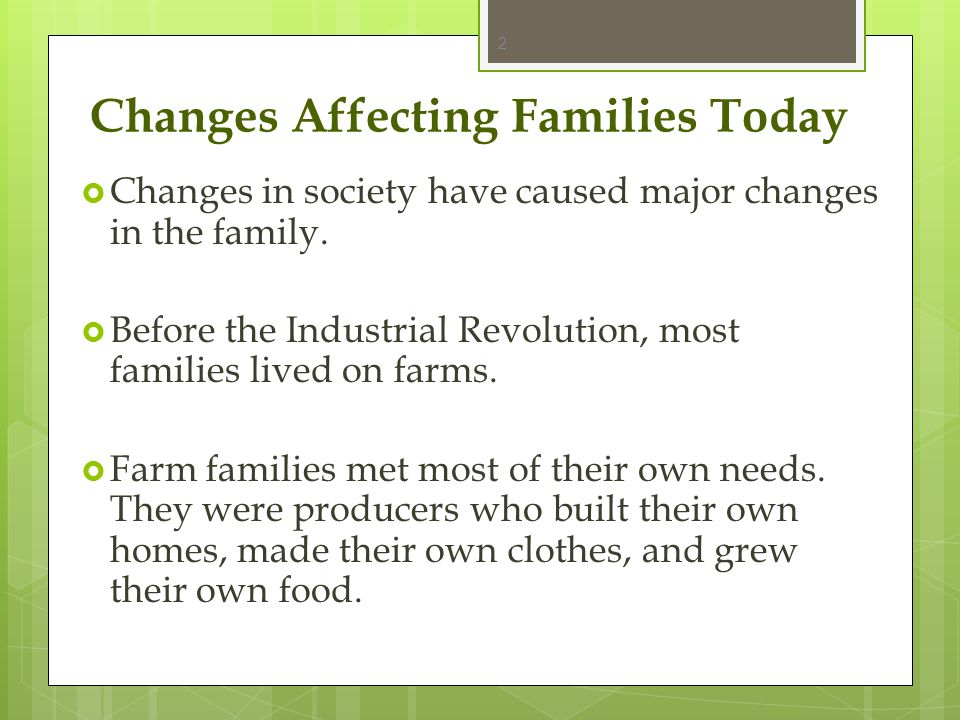 Changes Affecting Families Today