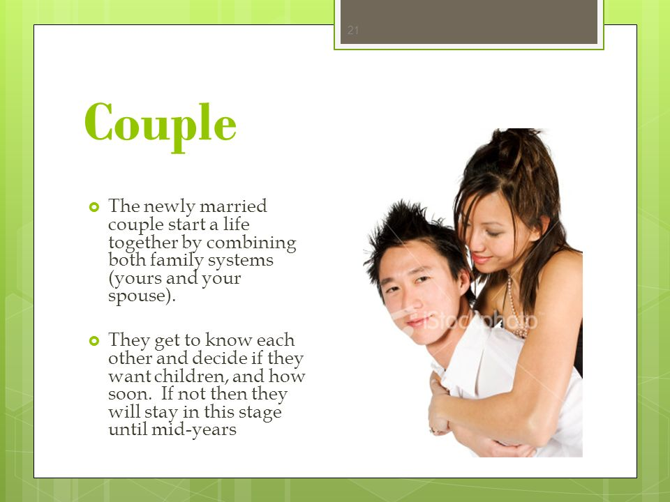Couple The newly married couple start a life together by combining both family systems (yours and your spouse).