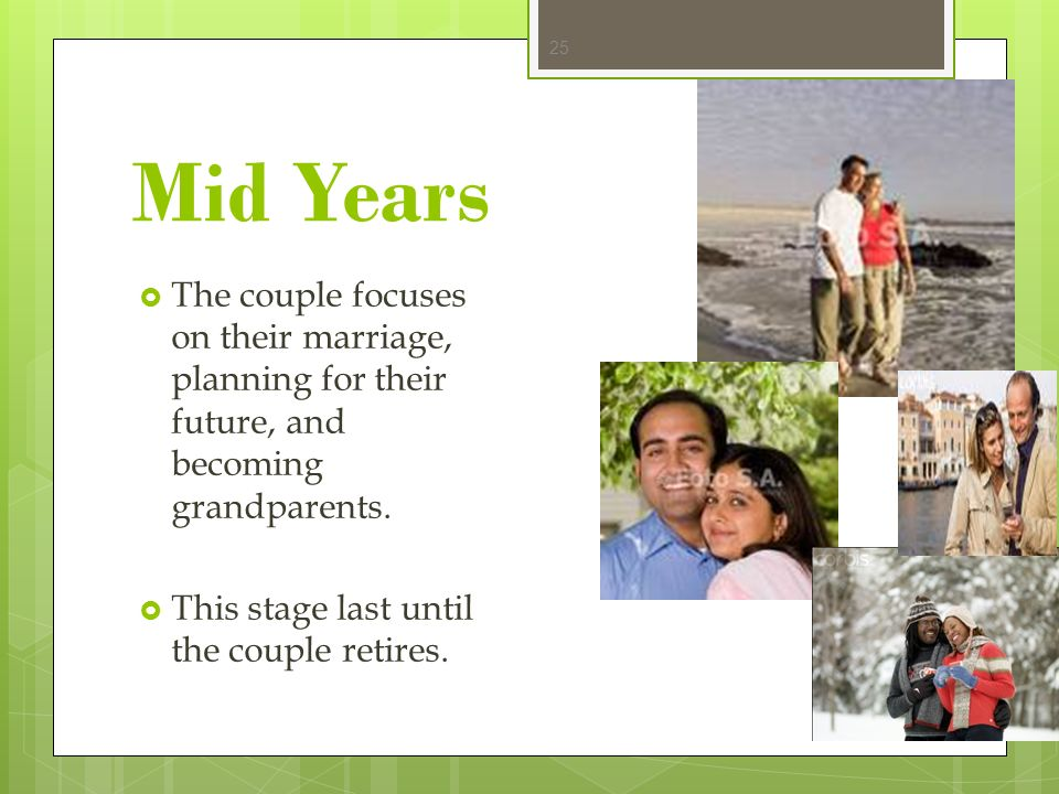 Mid Years The couple focuses on their marriage, planning for their future, and becoming grandparents.