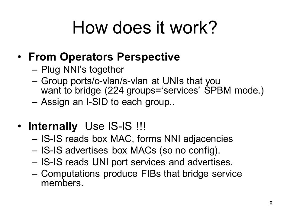 How does it work From Operators Perspective Internally Use IS-IS !!!