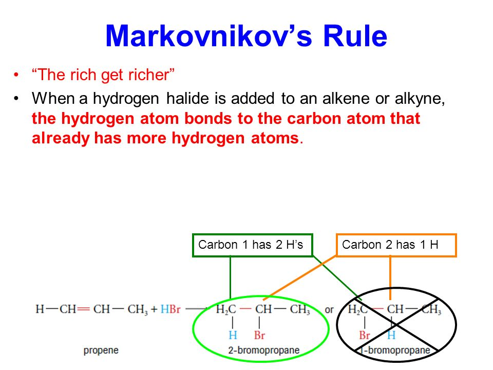 Markovnikov's Rule The rich get richer