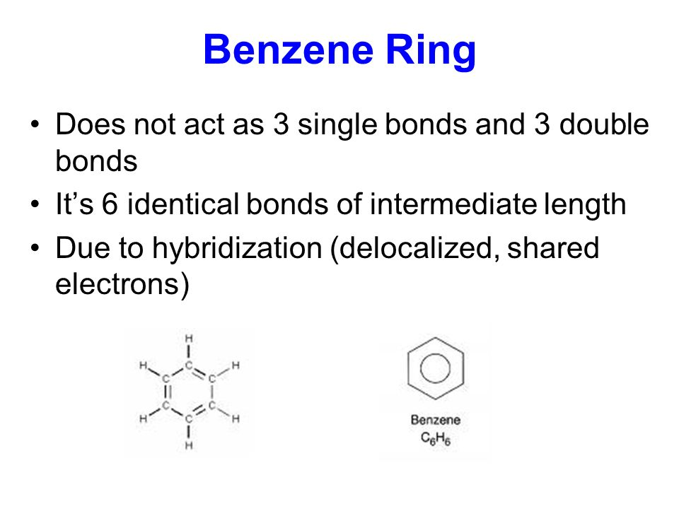Benzene Ring Does not act as 3 single bonds and 3 double bonds