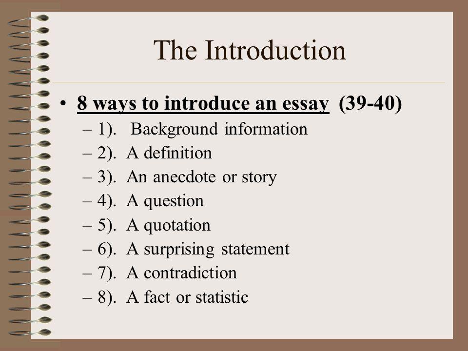 essay background information