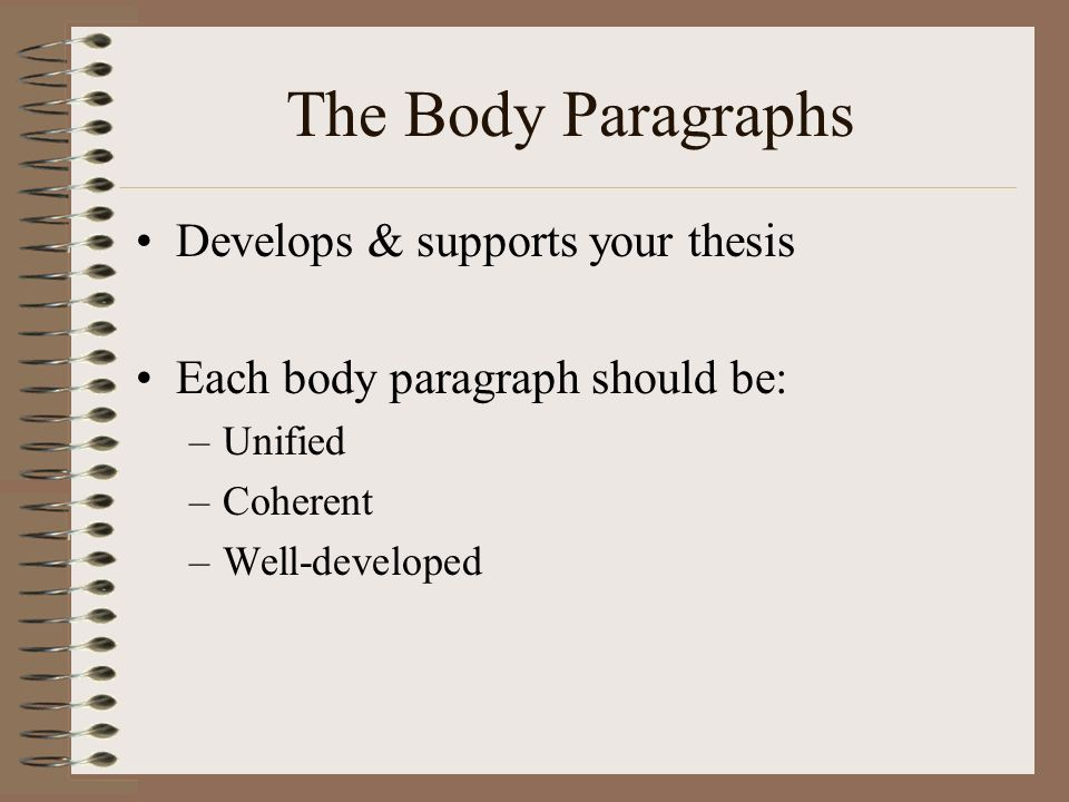 The Body Paragraphs Develops & supports your thesis