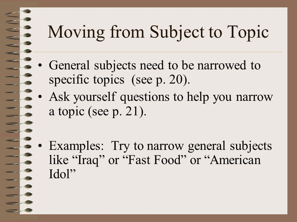 Moving from Subject to Topic