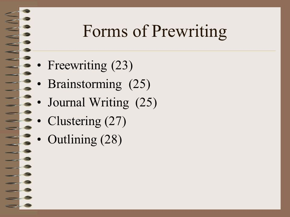 Forms of Prewriting Freewriting (23) Brainstorming (25)