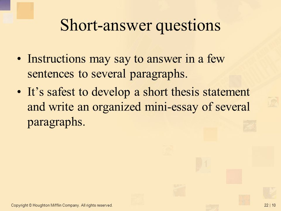 how long is a short essay answer