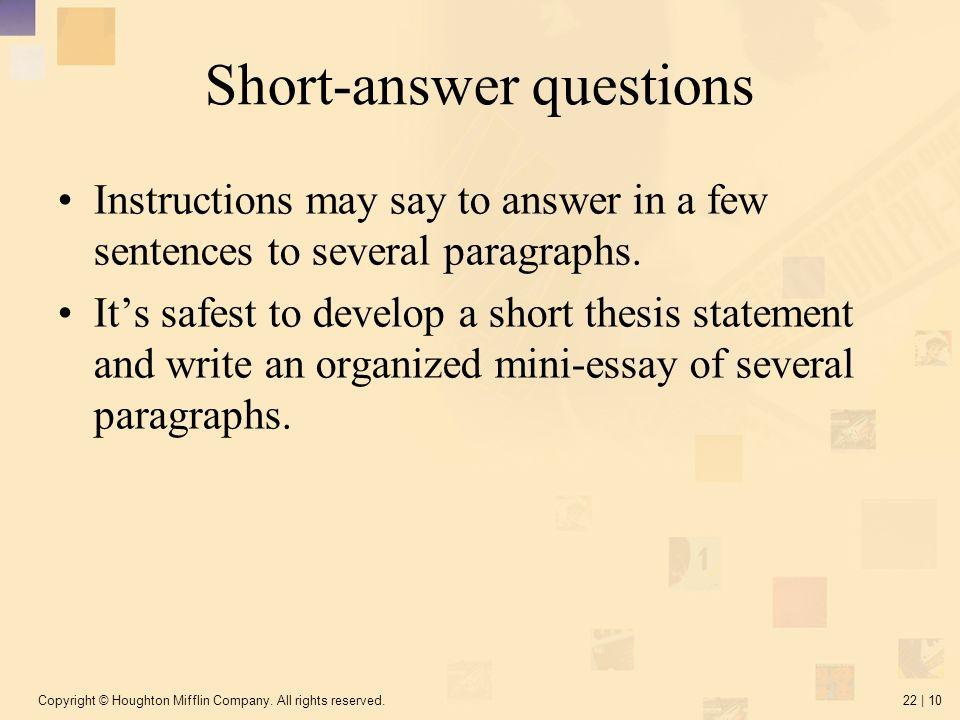sample short essay questions