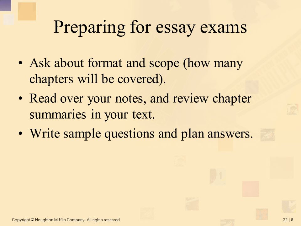 Prepare for examination essay